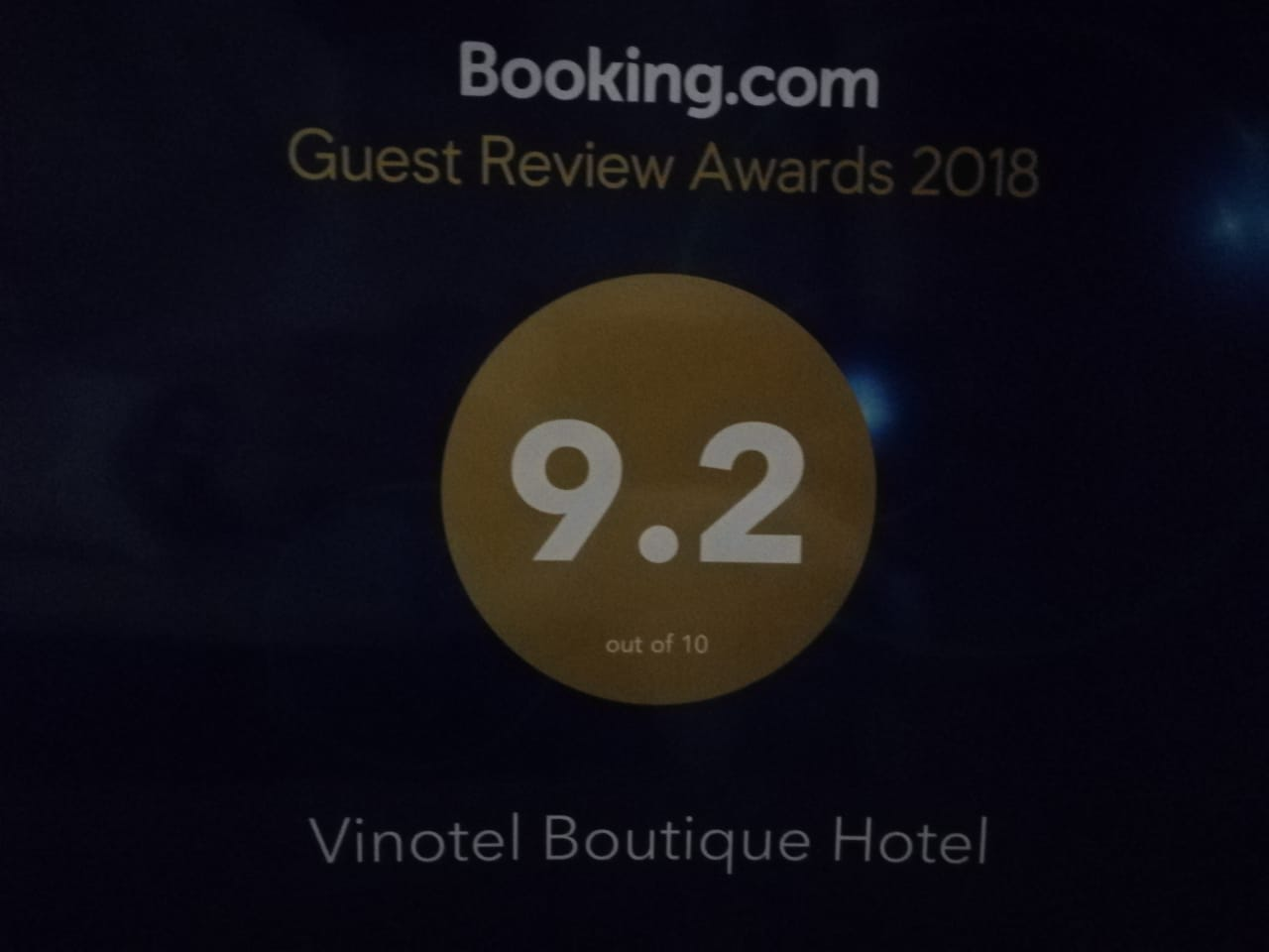 Booking award 2015 (9.2 score)